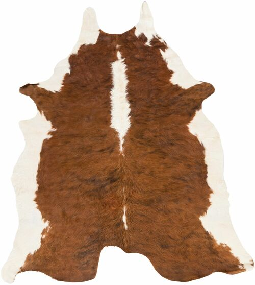 3' x 5' Camel Brown and Beige Cowhide Shaped Hand Crafted Area Throw Rug - IMAGE 1