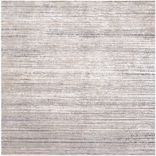 "7'10"" Distressed Finished Taupe and Ivory Square Polyester Area Throw Rug - IMAGE 1"