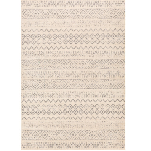 "6'7"" x 9' Tribal Pattern Ivory and Beige Rectangular Area Rug - IMAGE 1"