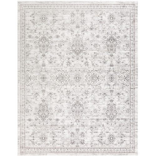"""7'10"""" x 10'3"""" Distressed White and Brown Medieval Pattern Rectangular Synthetic Area Rug - IMAGE 1"""