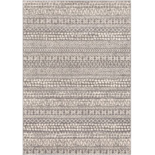 """5'3"""" x 7'3"""" Ethnic Design Gray and White Synthetic Area Throw Rug - IMAGE 1"""