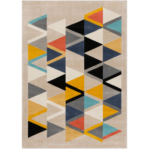5.25' x 7.25' Mustard Yellow and Black Abstract Patterned Rectangular Throw Rug - IMAGE 1