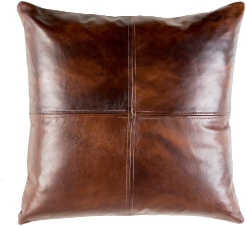 """20"""" Brown Leather Solid Square Throw Pillow - Poly Filled - IMAGE 1"""