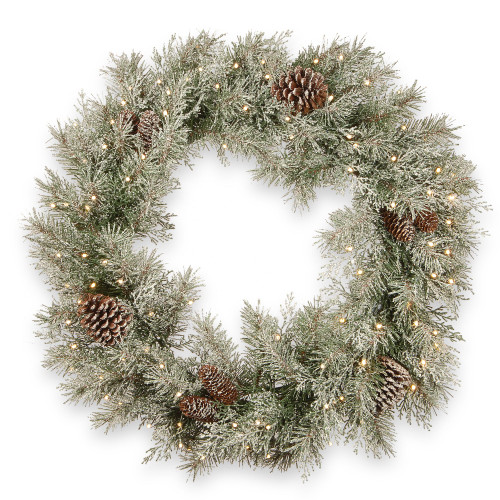 """30"""" Pre-Lit Frosted Mountain Spruce Artificial Christmas Wreath - Battery operated Clear Lights - IMAGE 1"""