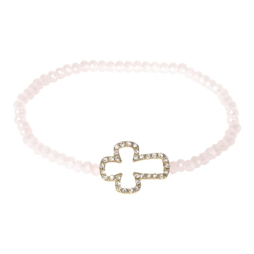 Pink and Gold Crystal Glass Stone Stretch Band Bracelet - IMAGE 1