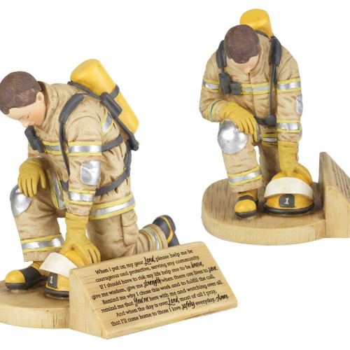 "6"" Kneeling Firefighter Prayer Resin Figurine - IMAGE 1"