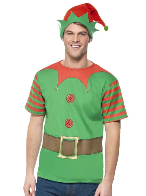 """43"""" Green and Red Instant Elf Men Adult Christmas Costume - Medium - IMAGE 1"""