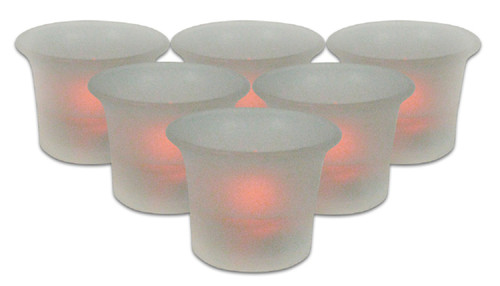 "Pack of 6 Frosted Glass Battery Operated Flameless Votive Candles with Amber Flames 2"" - IMAGE 1"