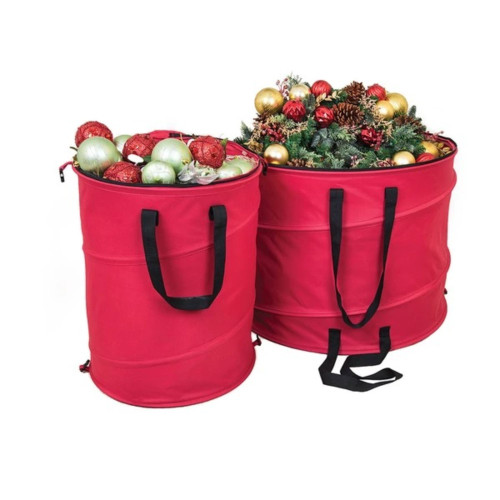 """30"""" Red and Black Extra Large Pop-Up Christmas Decorations Storage Bag - IMAGE 1"""