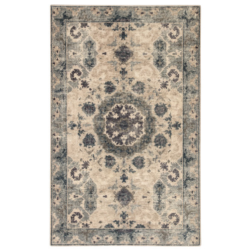 2' x 3' Blue and Gray Updated Traditional Modify Hand Knotted Wool Area Throw Rug - IMAGE 1