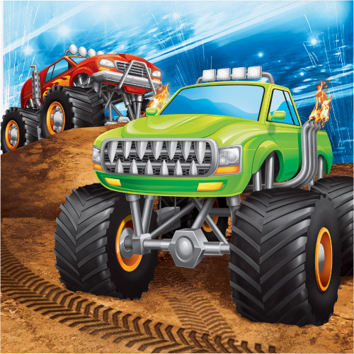 """Club Pack of 192 Red and Green Monster Truck Printed 2-Ply Luncheon Square Napkins 6.5"""" - IMAGE 1"""