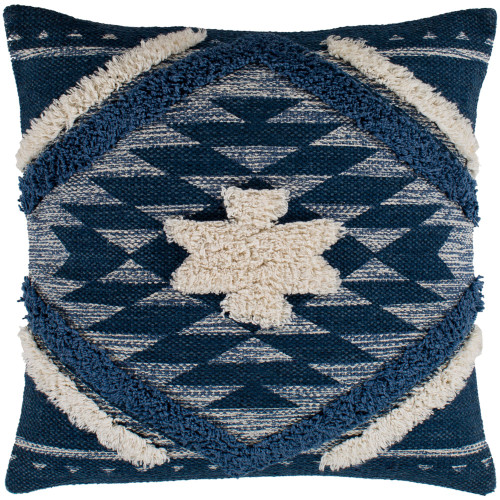 """20"""" Blue and Beige Southwestern Design Handwoven Square Throw Pillow - Polyester Filler - IMAGE 1"""