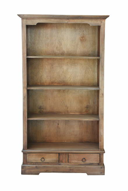 """70.75"""" Brown Sunset Trading Cottage Bookshelf with 4 Shelves and 2 Drawers - IMAGE 1"""