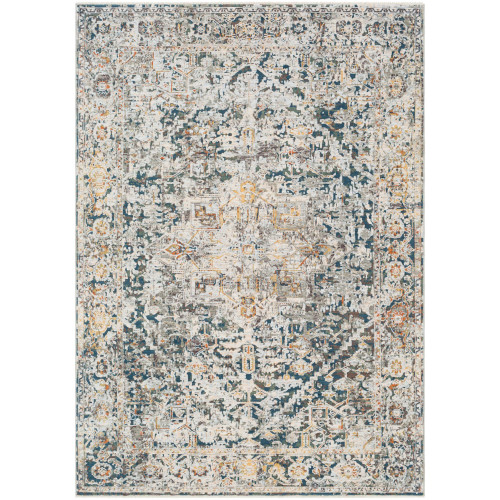 9' x 13' Distressed Blue and Gray Rectangular Area Throw Rug - IMAGE 1