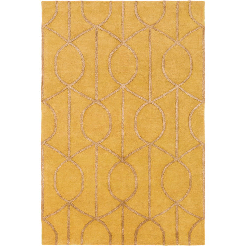 """7'6"""" x 9'6"""" Geometric Patterned Yellow and Brown Hand Tufted Rectangular Area Throw Rug - IMAGE 1"""