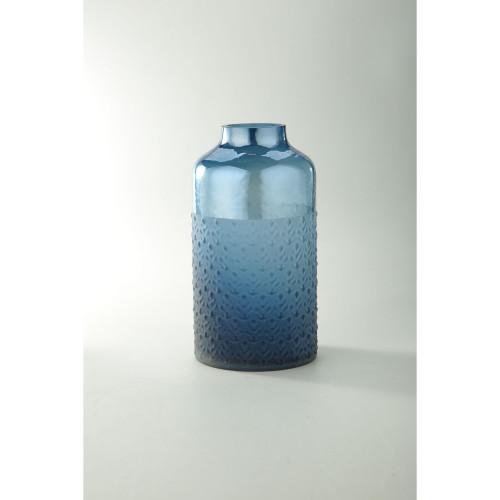 """11"""" Blue Leaf Pattern Embossed Glass Vase - IMAGE 1"""