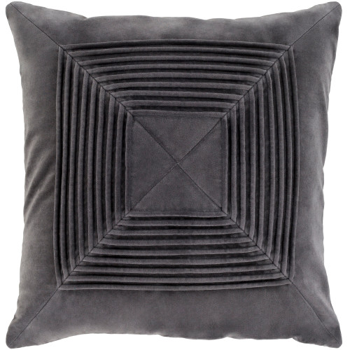 """22"""" Black Pleated Seamless Pattern Square Throw Pillow Cover - IMAGE 1"""