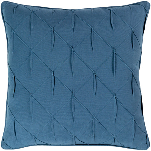 """18"""" Blue Textured Square Woven Throw Pillow Cover with Piping Edge - IMAGE 1"""