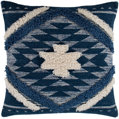 """20"""" Blue Square Woven Embroidered Throw Pillow - Down Filler - IMAGE 1"""