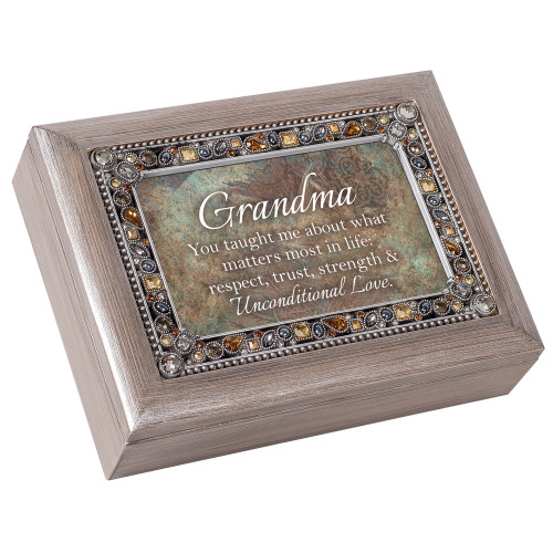 """8"""" Pewter Finish """"Grandma Taught Respect Trust Love"""" Printed Wind Up Music Box - IMAGE 1"""