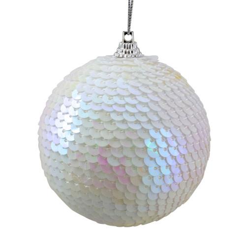 "White Iridescent Sequin Shatterproof Ball Christmas Ornament 3"" - IMAGE 1"