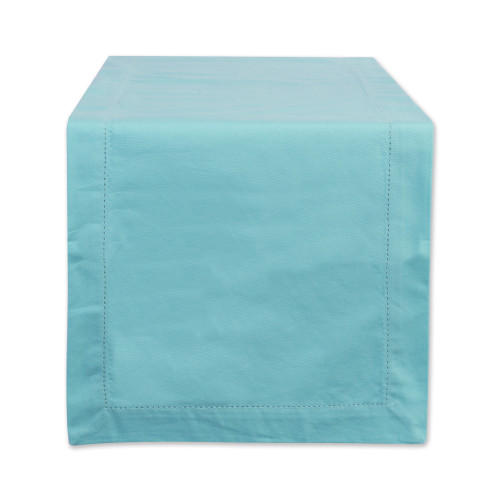 """72"""" Turquoise Blue Hemstitch Solid Rectangular Table Runner - IMAGE 1"""