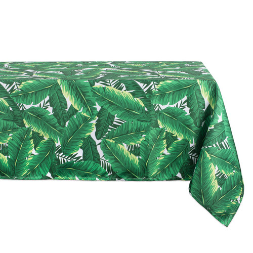 """84"""" Green and White Banana Leaf Outdoor Tablecloth - IMAGE 1"""