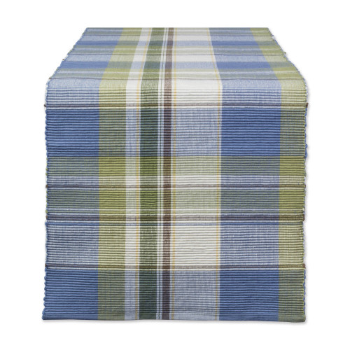 "72"" Olive Green and Blue Plaid Rectangular Table Runner - IMAGE 1"