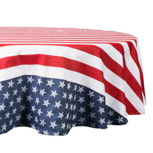 """70"""" Red and White Stars and Striped Round Outdoor Tablecloth - IMAGE 1"""