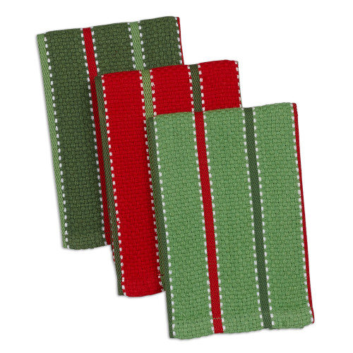 """Set of 3 Fern Green and Red Rectangular Striped Dishcloth 28"""" - IMAGE 1"""