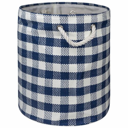 "20"" Navy Blue and White Checkered Round Large Bin - IMAGE 1"