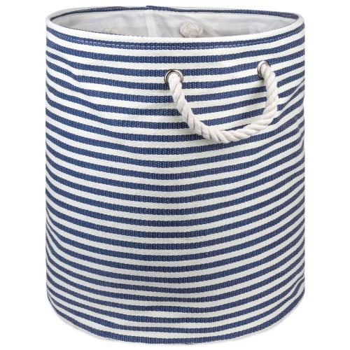 "20"" Blue and White Pinstripe Round Large Bin - IMAGE 1"