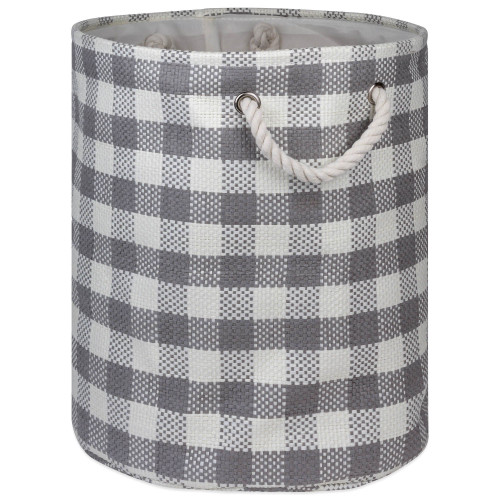 "20"" Pewter Gray and White Checkered Round Large Bin - IMAGE 1"