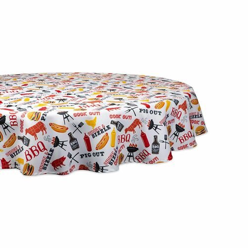 "60"" White and Yellow Barbeque Themed Round Outdoor Tablecloth - IMAGE 1"