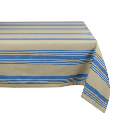 "120"" Blue and Taupe Gray Striped Rectangular Tablecloth - IMAGE 1"