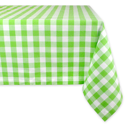 "84"" Green and White Checkered Rectangular Tablecloth - IMAGE 1"