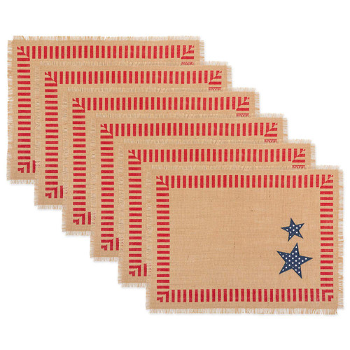 """Set of 6 Brown and Red 4th Of July Rectangular Placemats 19.25"""" - IMAGE 1"""