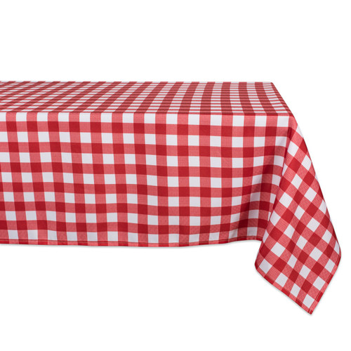"84"" Red and White Plaid Rectangular Outdoor Tablecloth - IMAGE 1"