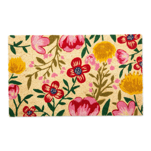 """Beige and Red Bright Blossom Rectangular Doormat 18"""" x 30"""" - IMAGE 1"""