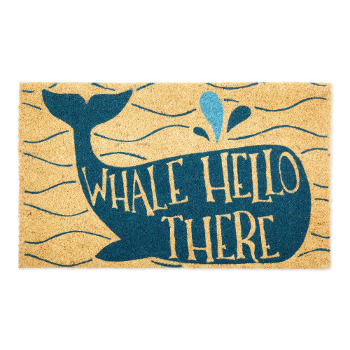 """Blue and Beige """"WHALE HELLO THERE"""" Printed Rectangular Doormat 30"""" x 18"""" - IMAGE 1"""