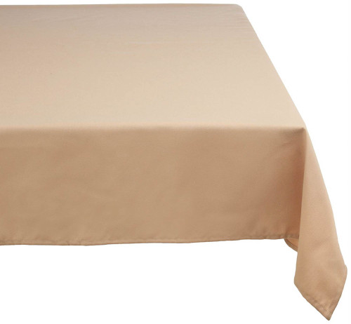 "84"" Beige Solid Rectangular Tablecloth with Hem - IMAGE 1"