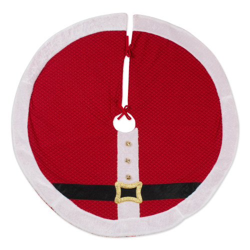 "42"" Red and White Santa Belt Themed Round Christmas Tree Skirt - IMAGE 1"