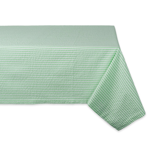 """84"""" Green and White Seersucker Striped Rectangular Tablecloth - IMAGE 1"""