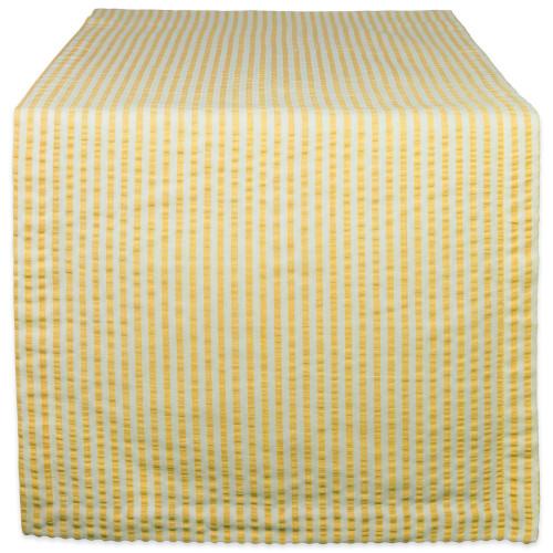 "72"" Yellow and White Seersucker Striped Rectangular Table Runner - IMAGE 1"