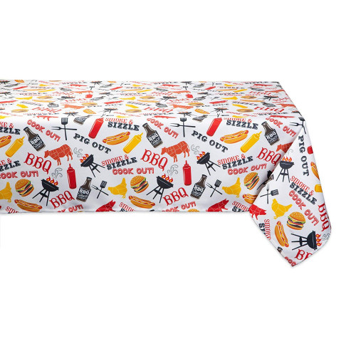 "84"" White and Yellow Barbeque Themed Rectangular Outdoor Tablecloth - IMAGE 1"