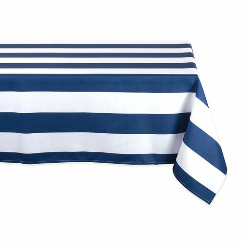 """120"""" Blue and White Striped Rectangular Outdoor Tablecloth - IMAGE 1"""