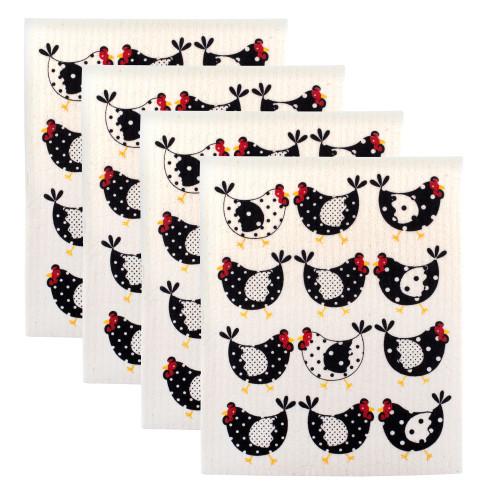"Set of 4 Daisy White and Black Rectangular Chickens Dishcloths 7.75"" - IMAGE 1"