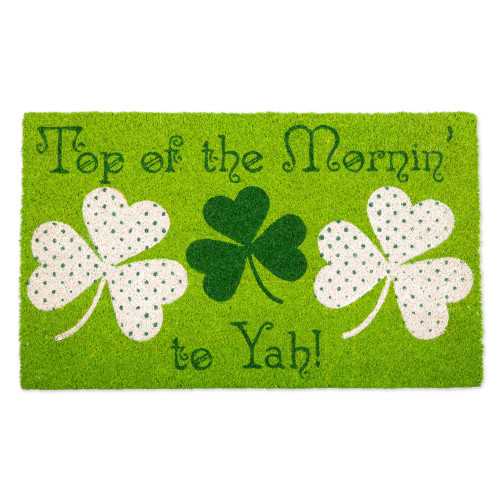 """Green and White """"Top of the Mornin' to Yah!"""" Rectangular Doormat 18"""" x 30"""" - IMAGE 1"""