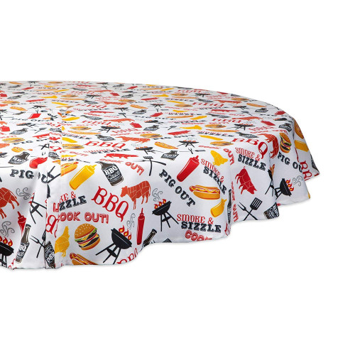 "60"" White and Yellow Barbeque Themed Round Outdoor Tablecloth with Zipping - IMAGE 1"