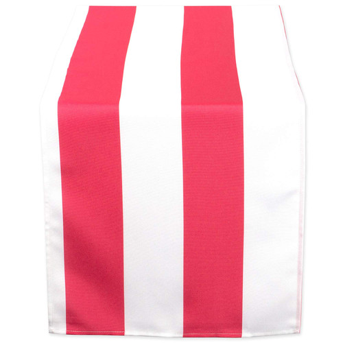 "72"" Pink and White Striped Outdoor Rectangular Table Runner - IMAGE 1"